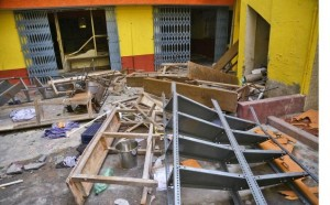 The  school at Hosa Guddadahalli after it was ransacked by a violent mob of protestors following the sexual assault of a 7-yeard old student. Photo: The Hindu